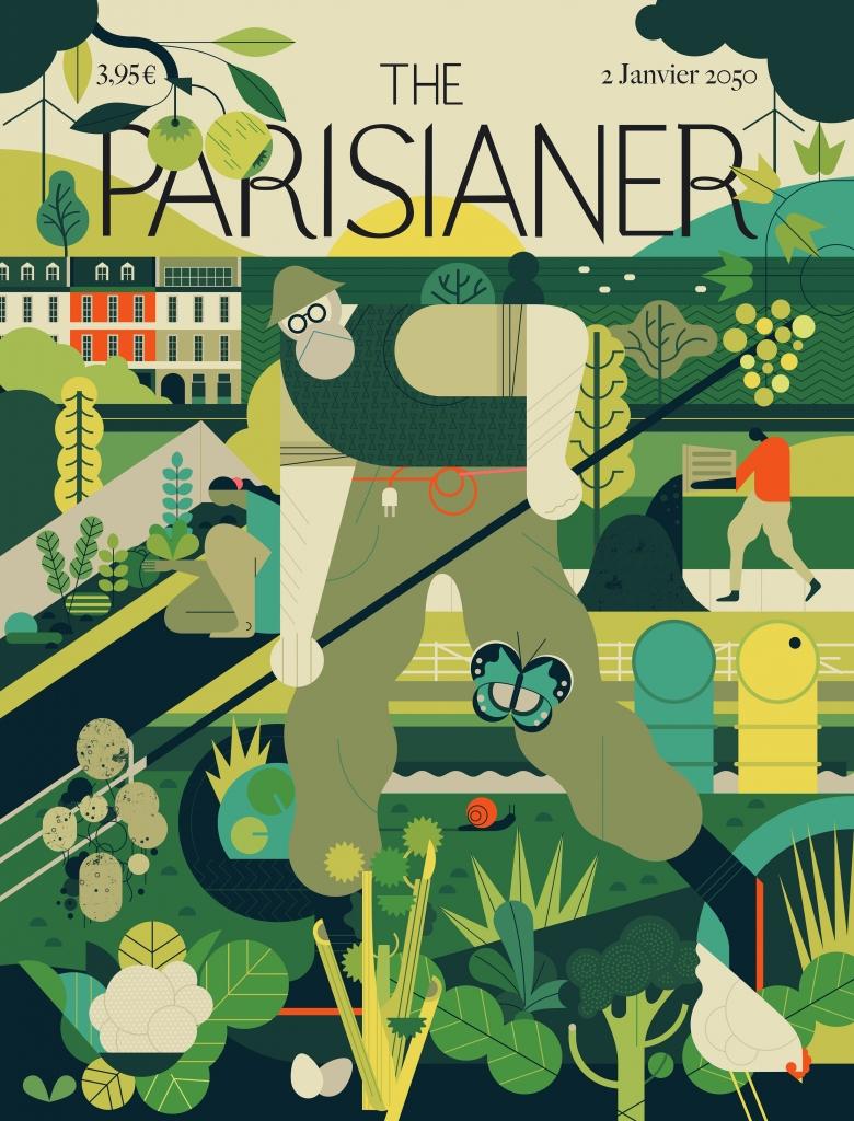 Illustrated magazine cover for the Parisianer