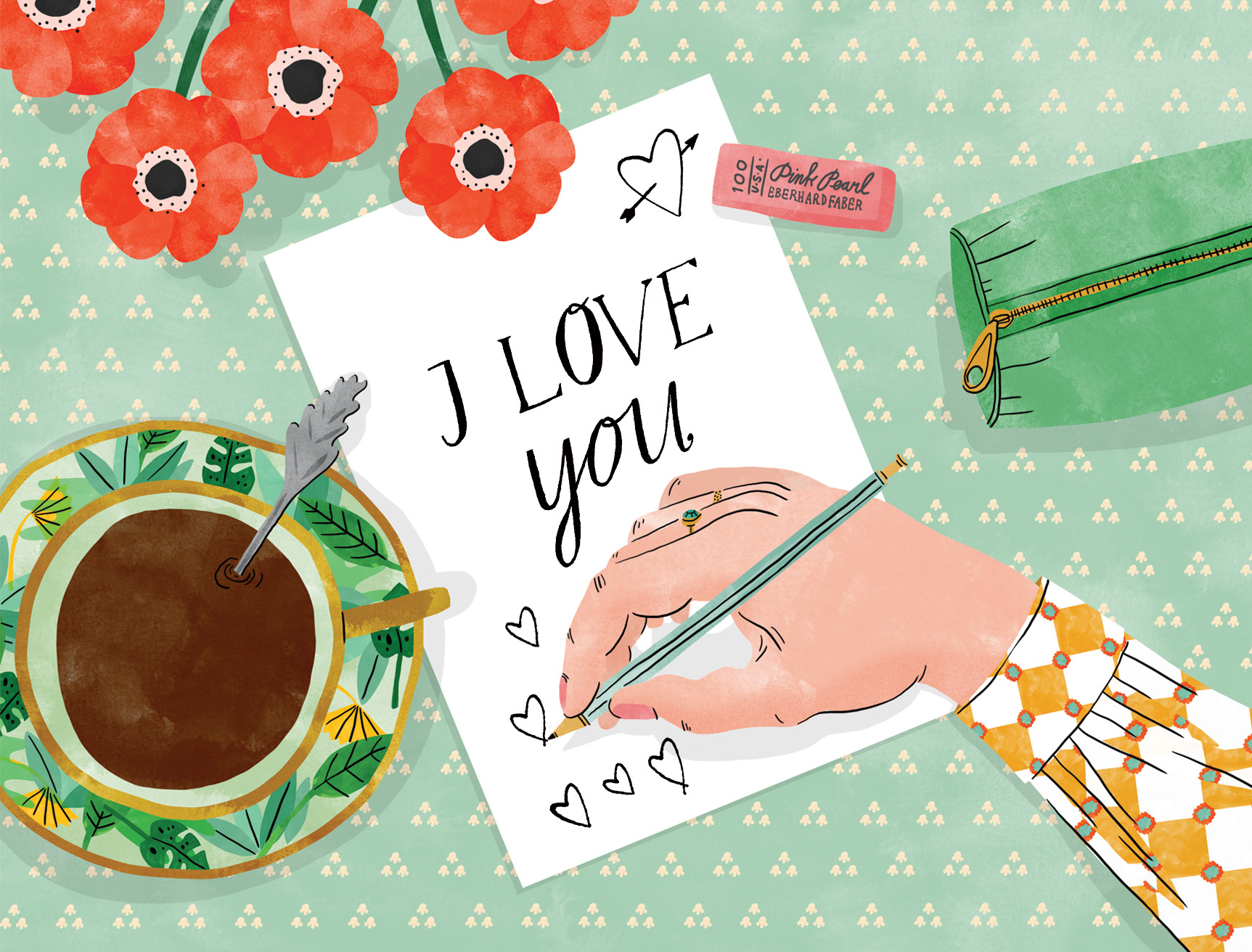 Illustration of a hand writing a love letter at a desk