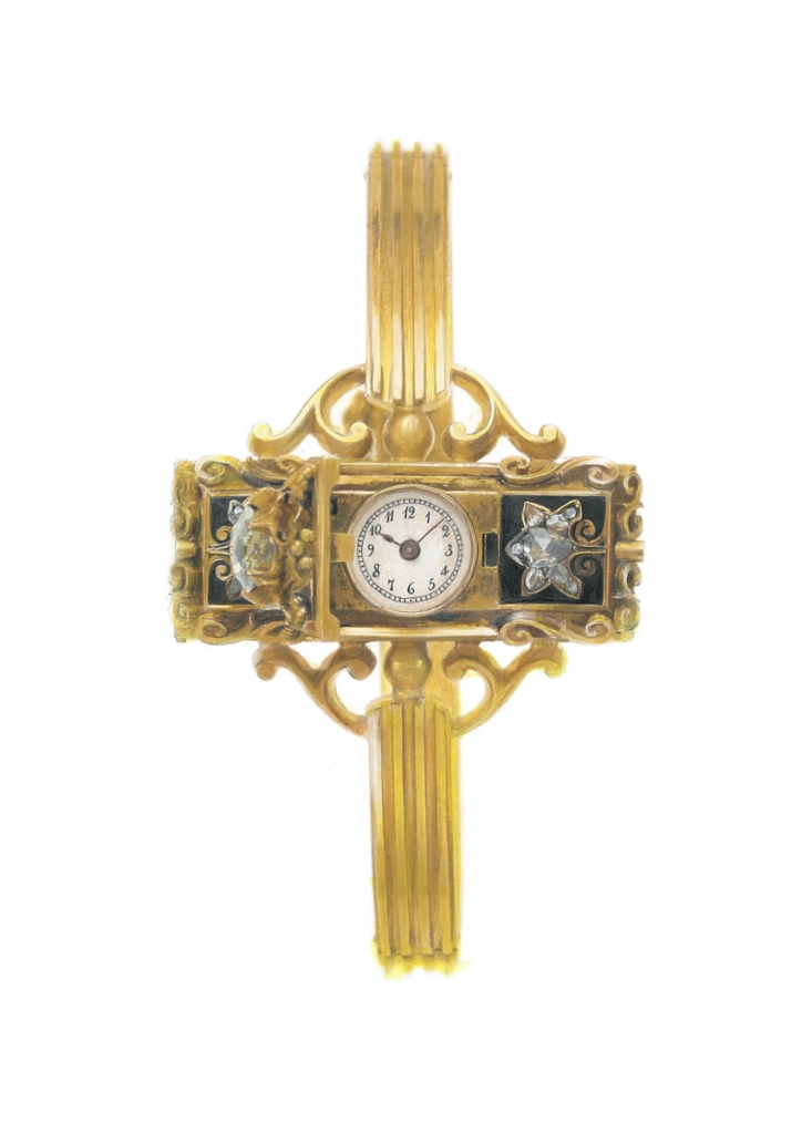 painting of an antique pate philippe wristwatch
