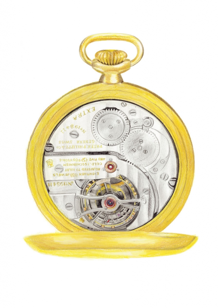 Illustration of the inner workings of a pocket watch