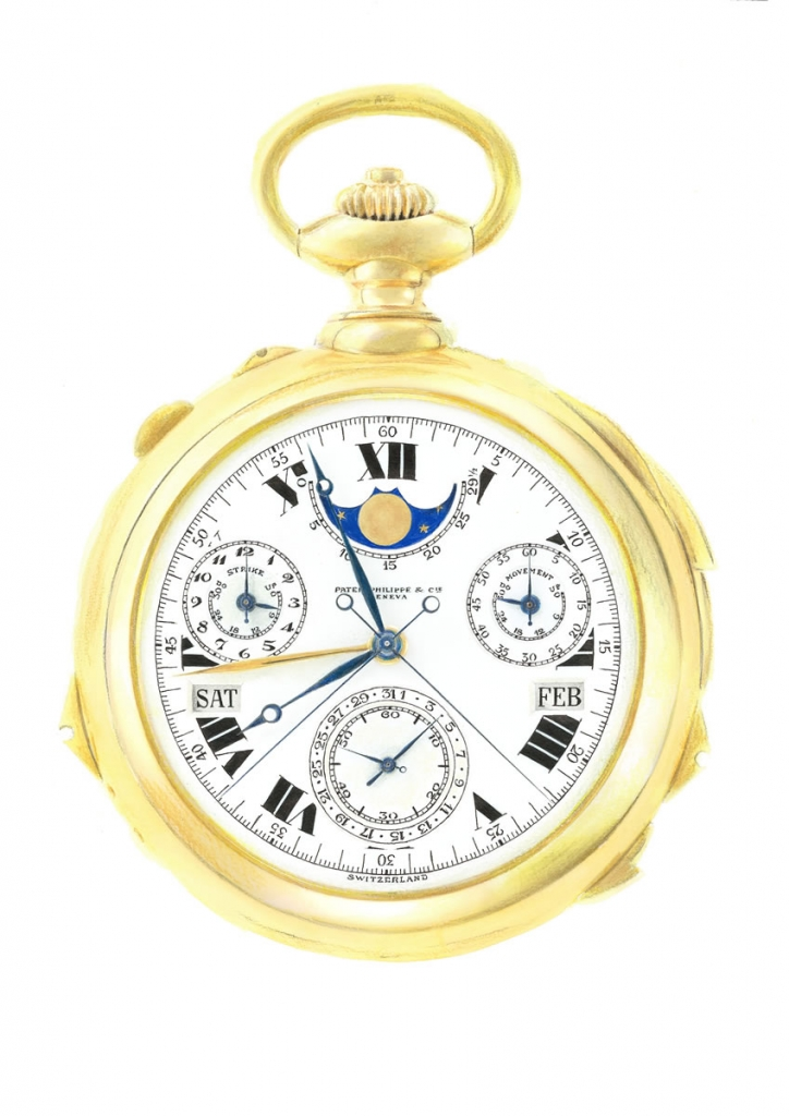 Detailed illustration of a Patek Philippe pocket watch