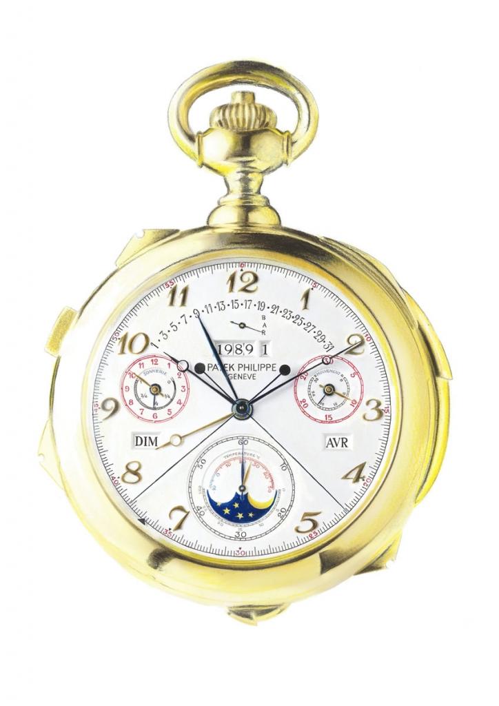 Photorealistic illustration of a Patek Philippe pocket watch