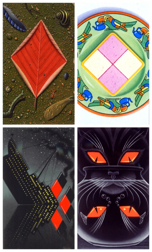 4 illustrated playing cards