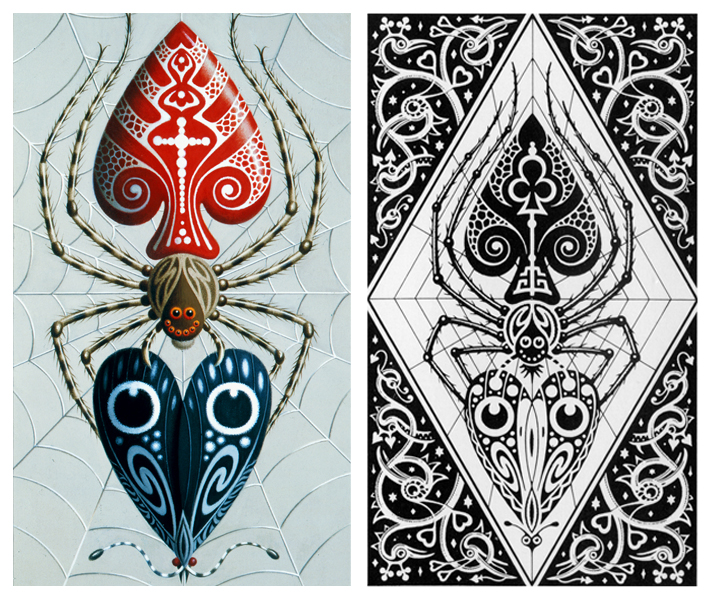 detailed illustrations for the joker and back design of a playing card