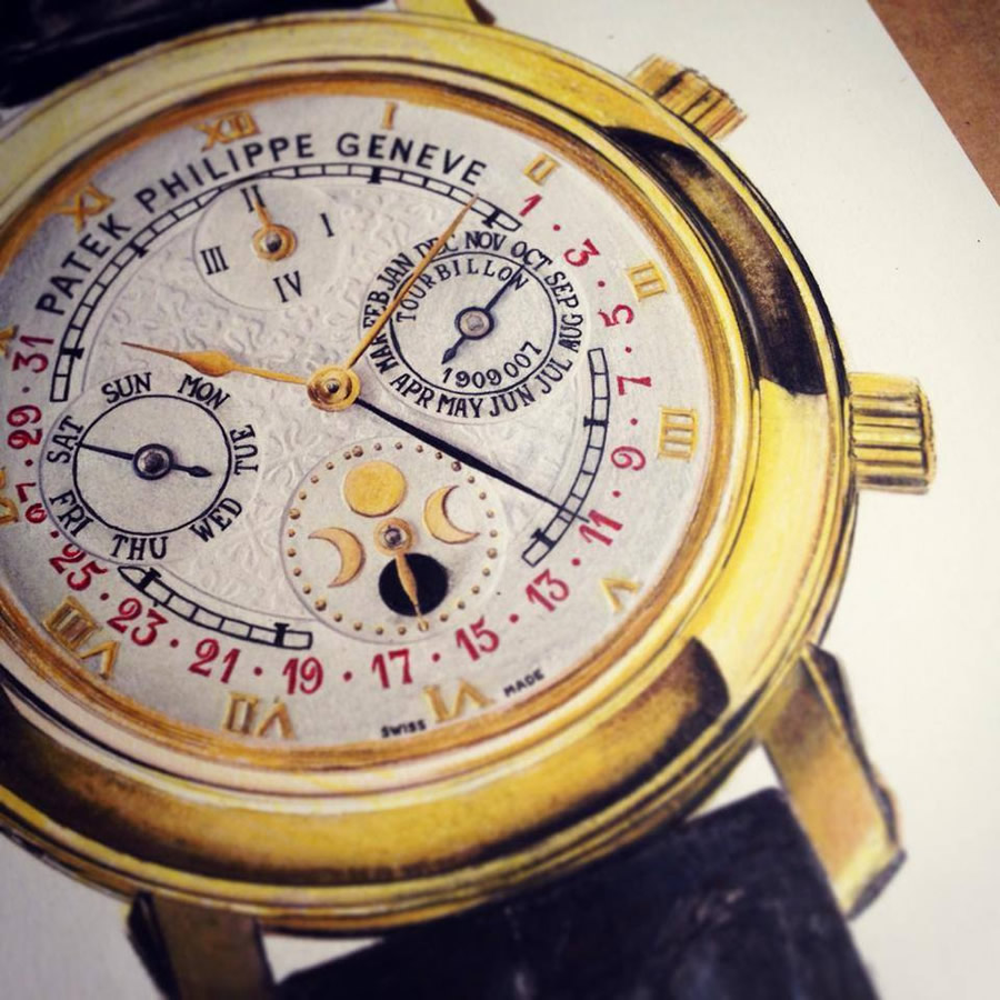 Traditional illustration of a Patek Philippe watch